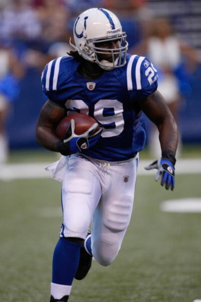 INDIANAPOLIS, IN - AUGUST 14: Running back Joseph Addai #29 of the Indianapolis Colts runs with the football against the Minnesota Vikings at Lucas Oil Stadium on August 14, 2009 in Indianapolis, Indiana. (Photo by Scott Boehm/Getty Images)