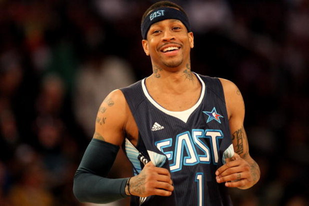 PHOENIX - FEBRUARY 15:  Allen Iverson #1 of the Eastern Conference smiles during the 58th NBA All-Star Game, part of 2009 NBA All-Star Weekend at US Airways Center on February 15, 2009 in Phoenix, Arizona.  NOTE TO USER: User expressly acknowledges and ag