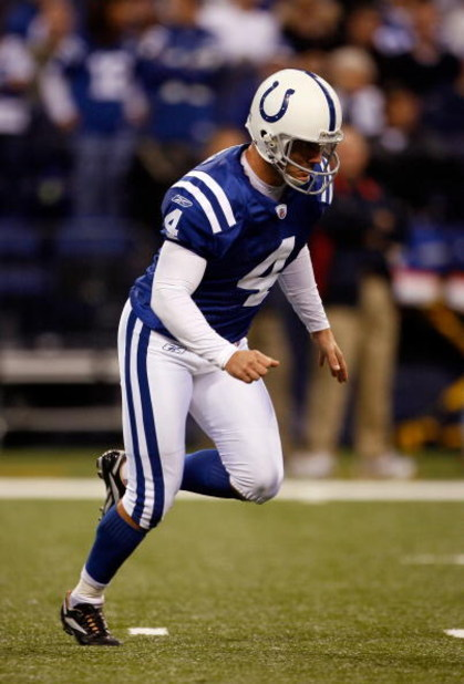 INDIANAPOLIS - NOVEMBER 16:  Adam Vinatieri #4 of the Indianapolis Colts kicks off against the Houston Texans during the game at Lucas Oil Stadium on November 17, 2008 in Indianapolis, Indiana.  (Photo by Harry How/Getty Images)