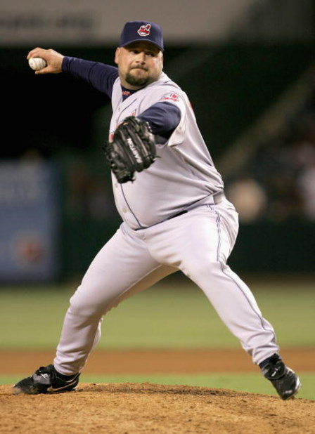 ANAHEIM, CA - APRIL 21:  Relief pitcher Bob Wickman #26 of the Cleveland Indians throws a pitch during the ninth inning against the Los Angeles Angels of Anaheim at Angel Stadium on April 21, 2005 in Anaheim, California.  The Angels went on to tie the sco