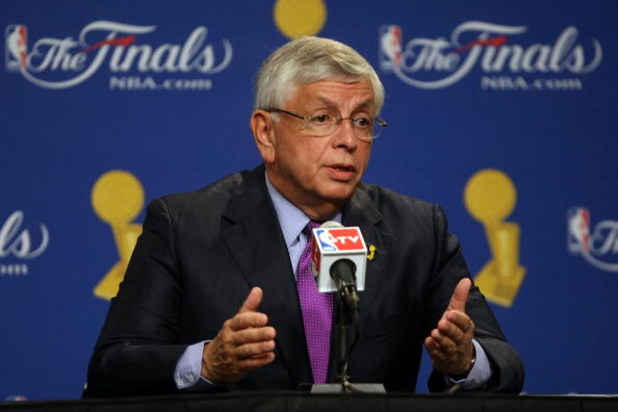 LOS ANGELES, CA - JUNE 04:  NBA Commissioner David Stern speaks to the media before the start of Game One of the 2009 NBA Finals between the Los Angeles Lakers and the Orlando Magic at Staples Center on June 4, 2009 in Los Angeles, California. NOTE TO USE