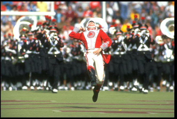 15 OCT 1988:  THE OHIO STATE BAND LEADER LEADS HIS BAND ONTO THE FIELD AT HALFTIME DURING THE BUCKEYES 31-26 LOSS TO THE UNIVERSITY OF PURDUE BOILERMAKERS AT OHIO STADIUM IN COLUMBUS, OHIO.