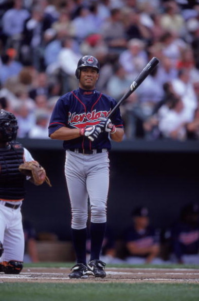 3 Apr 2000:  Roberto Alomar #12 of the Cleveland Indians at bat during the game against the Baltimore Orioles at the Camden Yards in Baltimore, Maryland. The Indians defeated the Orioles 4-1. Mandatory Credit: Doug Pensinger  /Allsport