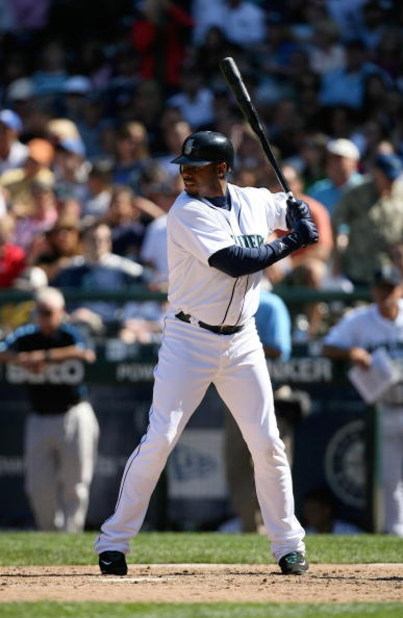 SEATTLE - AUGUST 16:  Ken Griffey Jr. #24 of the Seattle Mariners bats during the MLB game against the New York Yankees on August 16, 2009 at Safeco Field in Seattle, Washington. The Mariners defeated the Yankees 10-3. (Photo by Otto Greule Jr/Getty Image