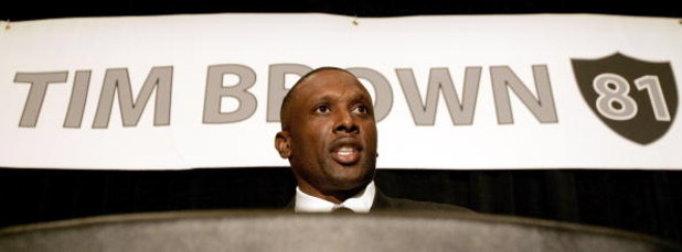 OAKLAND, CA - JULY 18:  Tim Brown announces his retirement from professional football after signing a one day contract with the Oakland Raiders, whom he played most of his career with, during a press conference at the Grand Ballroom of the Oakland Airport