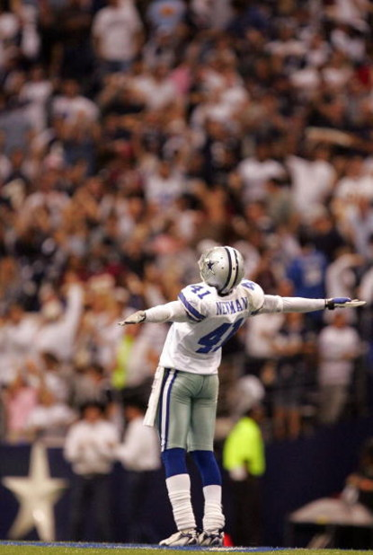 IRVING, TX - NOVEMBER 18:  Terence Newman #41 of the Dallas Cowboys celebrates a pass interception against the Washington Redskins on the star in the fourth quarter at Texas Stadium November 18, 2007 in Irving, Texas.  (Photo by Ronald Martinez/Getty Imag