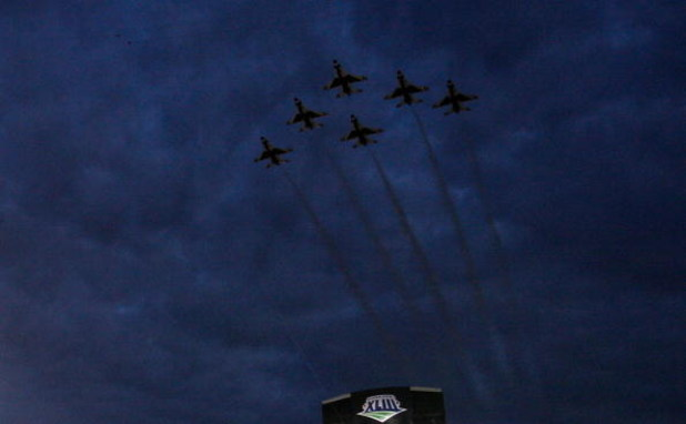 TAMPA, FL - FEBRUARY 01: Jets perform a fly over during the pre-game show prior to the start of Super Bowl XLIII between the Arizona Cardinals and the Pittsburgh Steelers on February 1, 2009 at Raymond James Stadium in Tampa, Florida.  (Photo by Chris Gra