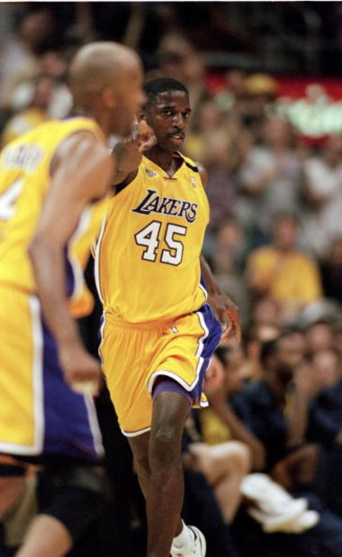 19 Jun 2000:  A.C. Green #45 of the Los Angeles Lakers makes a hand gesture during the NBA Finals Game 6 against the Indiana Pacers at the Staples Center in Los Angeles, California.  The Lakers defeated the Pacers in 116-111.  NOTE TO USER: It is expressl