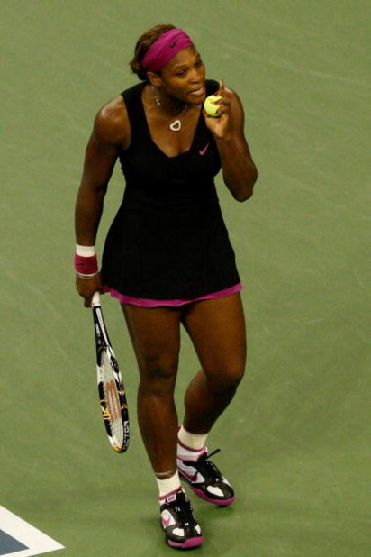 NEW YORK - SEPTEMBER 12:  Serena Williams argues a call by the line judge which led to her disqualification for a conduct violation during the Women's Singles Semifinal match against Kim Clijsters of Belgium on day thirteen of the 2009 U.S. Open at the US