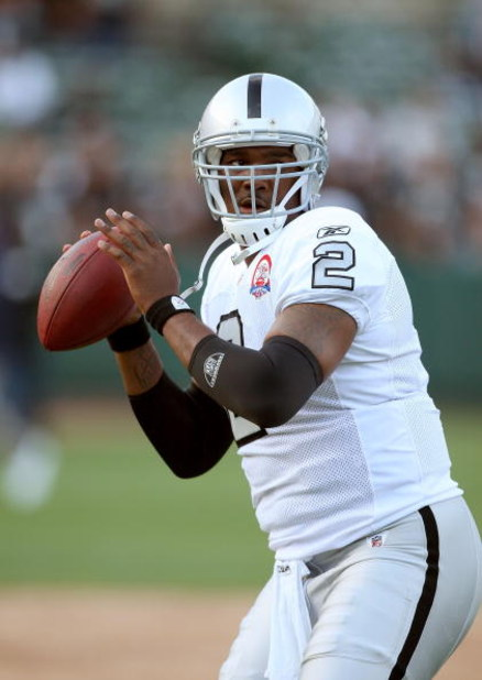 OAKLAND, CA - SEPTEMBER 14:  JaMarcus Russell #2 of the Oakland Raiders warms up before their game against the San Diego Chargers on September 14, 2009 at the Oakland-Alameda County Coliseum in Oakland, California.  (Photo by Ezra Shaw/Getty Images)