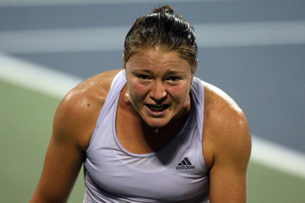 NEW YORK - SEPTEMBER 05:  Dinara Safina of Russia reacts after a play to Petra Kvitova of the Czech Republic during day six of the 2009 U.S. Open at the USTA Billie Jean King National Tennis Center on September 5, 2009 in the Flushing neighborhood of the