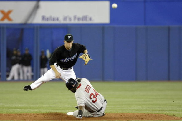 TORONTO - APRIL 6: Aaron Hill #2 of the Toronto Blue Jays makes a double play as he throws out David Ortiz #34 of the Boston Red Sox during their MLB game at the Rogers Centre April 6, 2008 in Toronto, Ontario. (Photo By Dave Sandford/Getty Images)