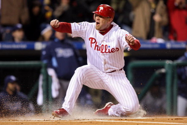 PHILADELPHIA - OCTOBER 29:  Geoff Jenkins #10 of the Philadelphia Phillies reacts as he scores on a RBI single by Jayson Werth #28 in the bottom of the sixth inning against the Tampa Bay Rays during the continuation of game five of the 2008 MLB World Seri