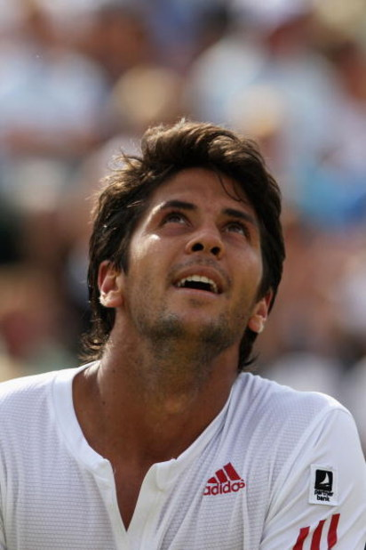 WIMBLEDON, ENGLAND - JUNE 26:  Fernando Verdasco of Spain looks thoughtful during the men's singles third round match against Albert Montanes of Spain on Day Five of the Wimbledon Lawn Tennis Championships at the All England Lawn Tennis and Croquet Club o